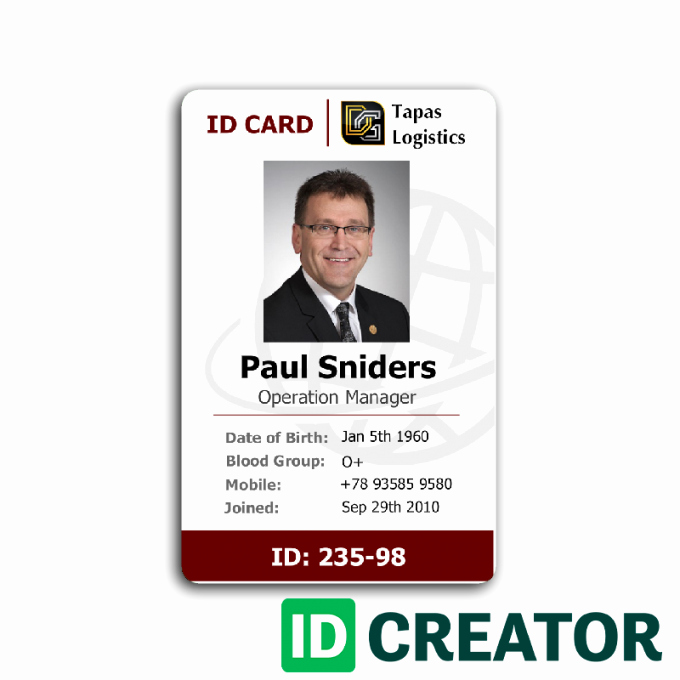 Employees Id Card Template New Employee Id Card 2 Card Templates