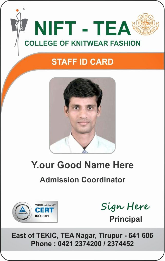 Employees Id Card Template New Id Card Coimbatore Ph College Student