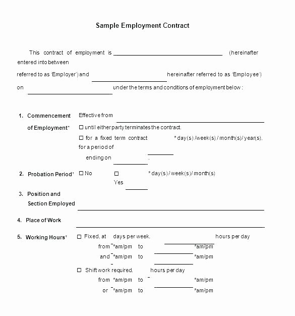 Employment Agreement Template Word Best Of Live In Caregiver Contract Template