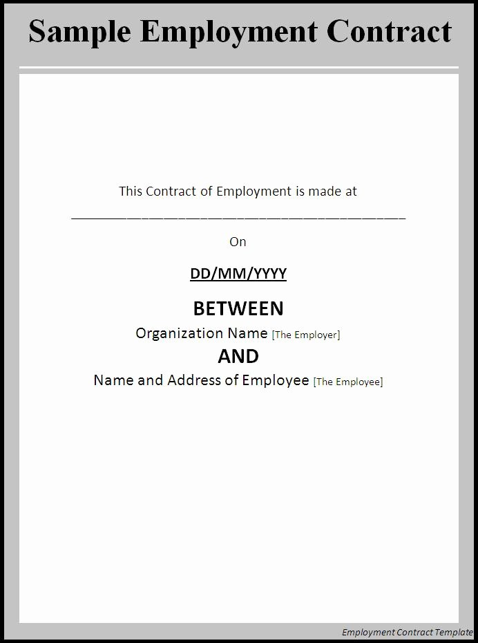 Employment Agreement Template Word Elegant Employment Contract Template Word Excel formats