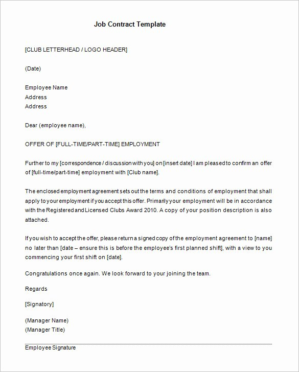 Employment Agreement Template Word Fresh 18 Job Contract Templates Word Pages Docs