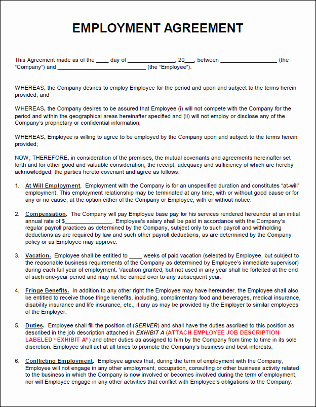 Employment Agreement Template Word Fresh Employment Agreement Template