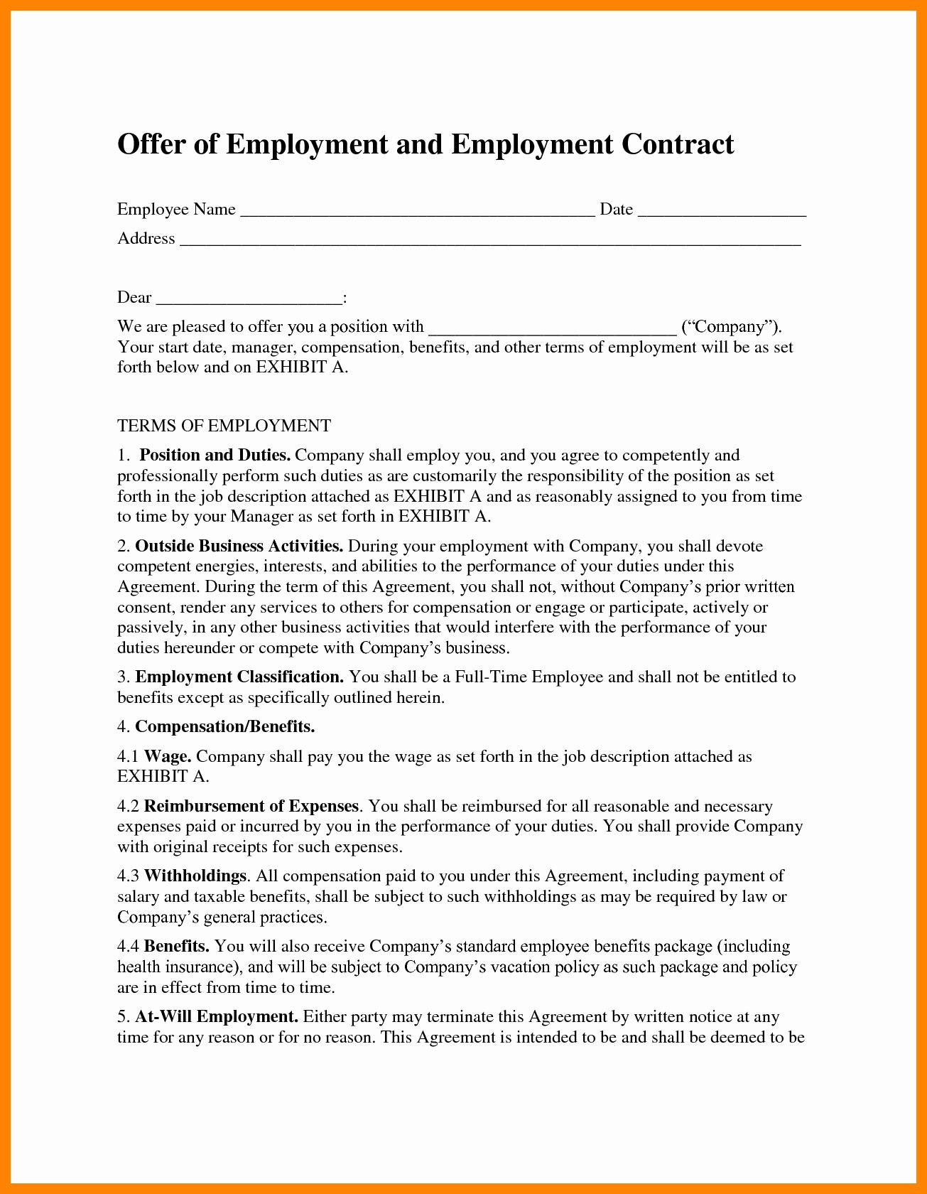 Employment Agreement Template Word Inspirational Employment Contract Template Word Portablegasgrillweber