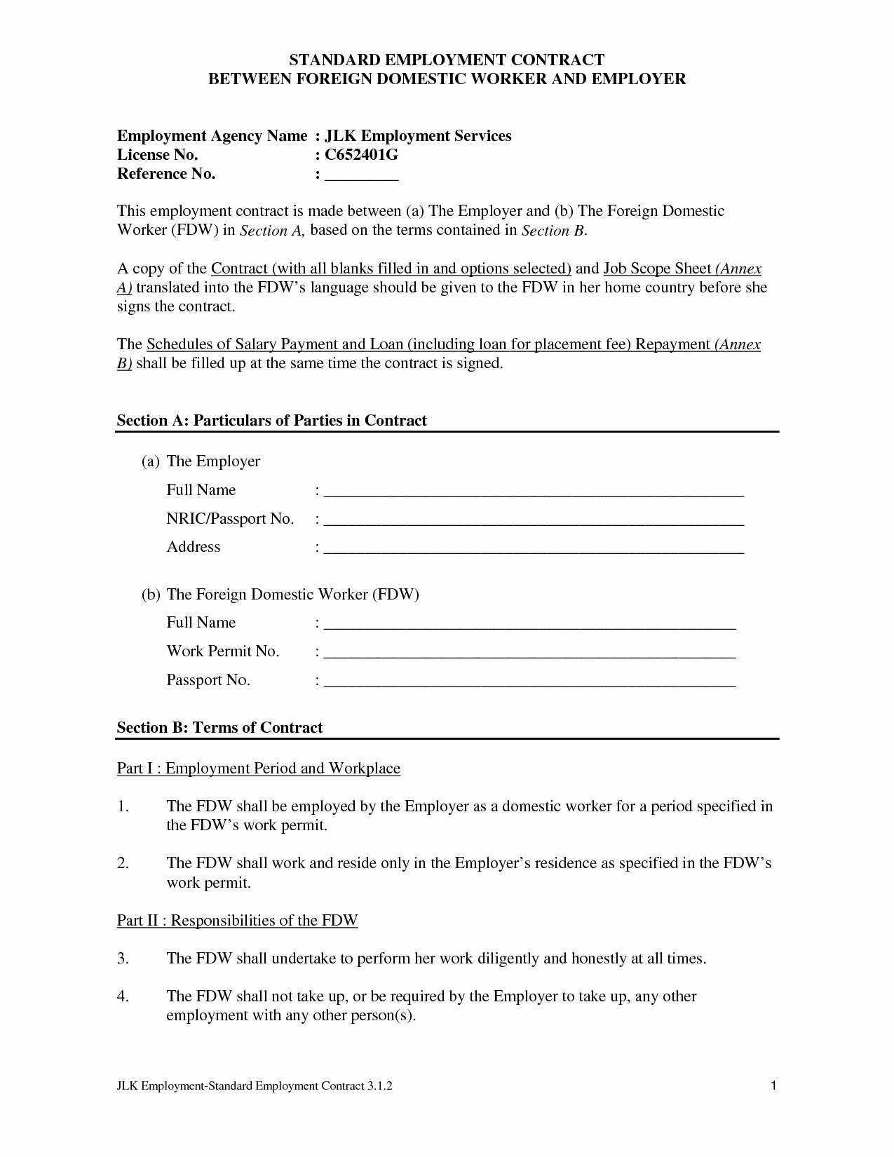 Employment Agreement Template Word Lovely Employee Agreement form Pertamini