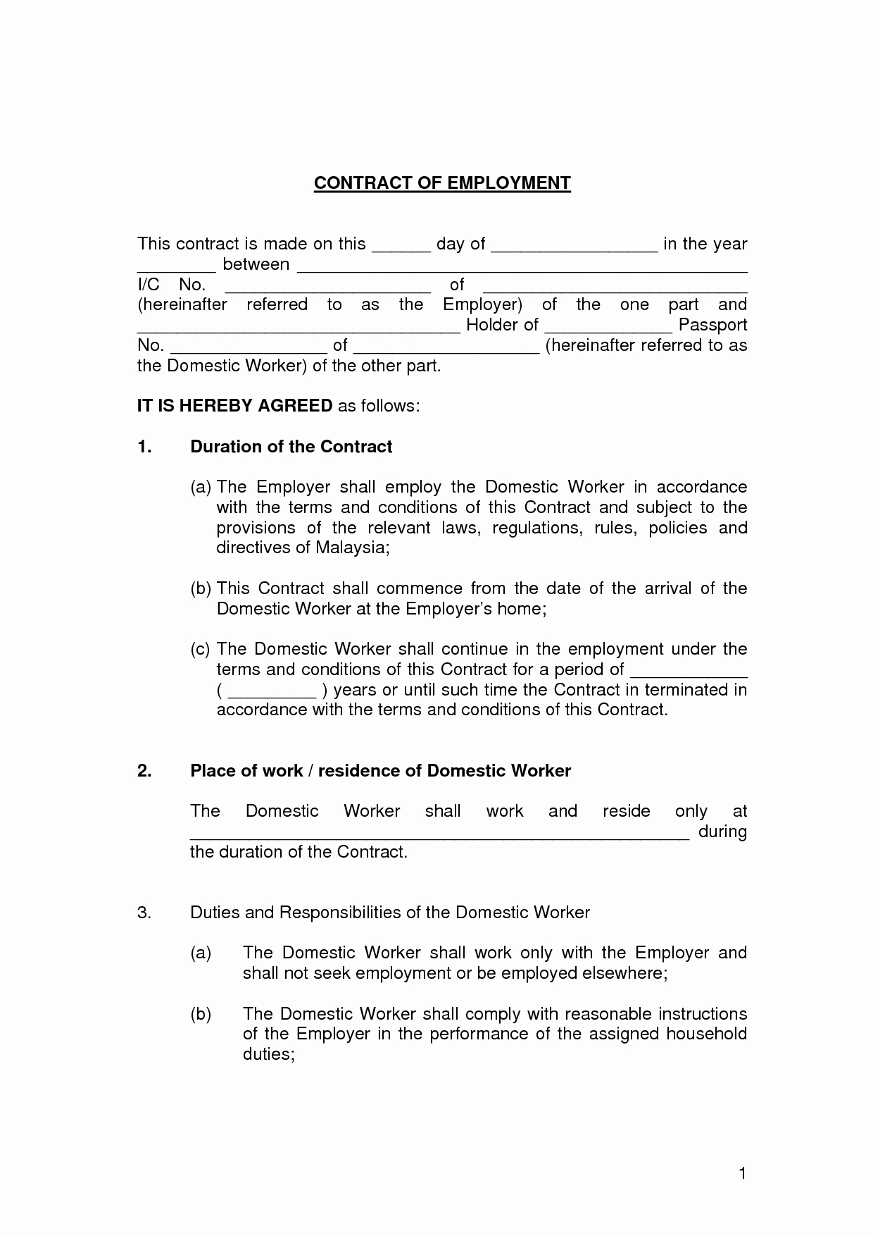 Employment Agreement Template Word Luxury Free Employment Contract Template Word