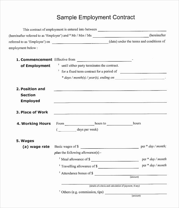 Employment Agreement Template Word New 20 Sample Employment Contract Templates Docs Word