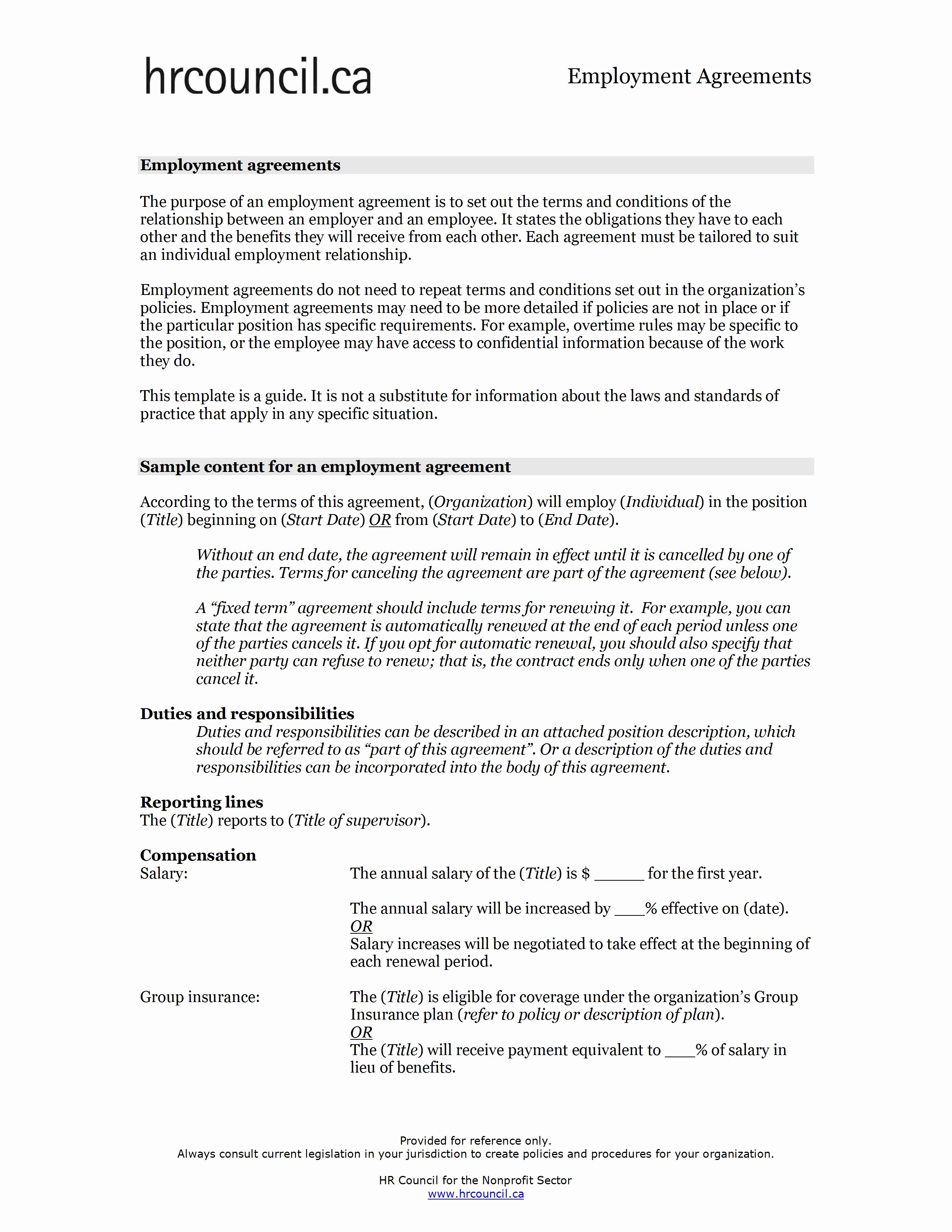 Employment Agreement Template Word New Employment Contract Sample