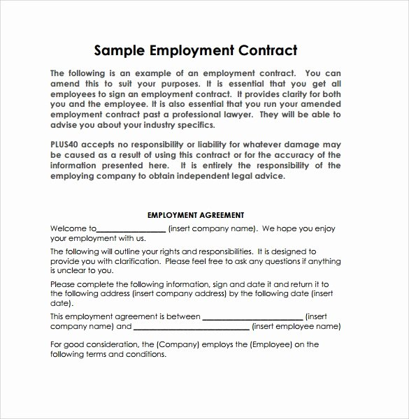 Employment Agreement Template Word Unique 20 Sample Employment Contract Templates Docs Word