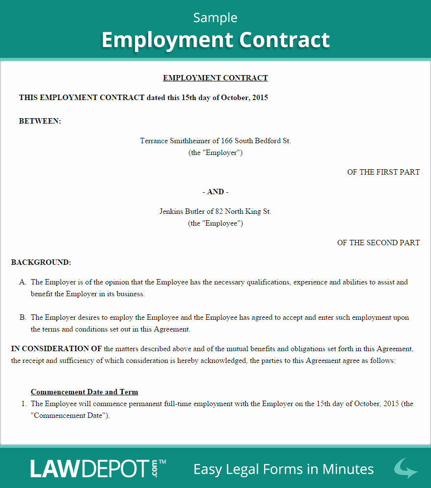 Employment Agreement Template Word Unique Employment Contract Template Us Lawdepot