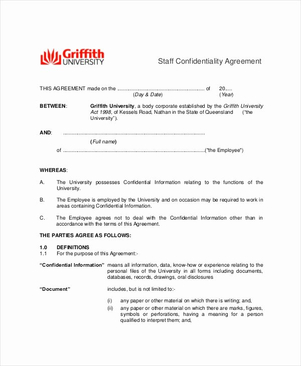 Employment Confidentiality Agreement Template Awesome 9 Employee Confidentiality Agreement Templates & Samples