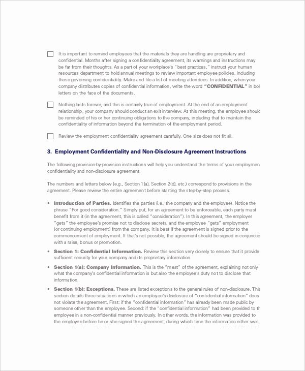 Employment Confidentiality Agreement Template Beautiful 8 Non Disclosure and Confidentiality Agreement Templates