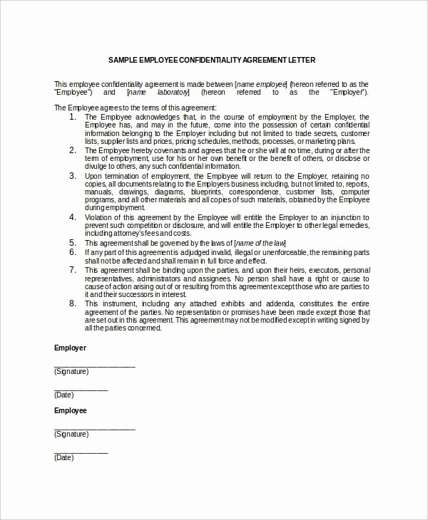 Employment Confidentiality Agreement Template Elegant 15 Employee Confidentiality Agreement Templates – Free