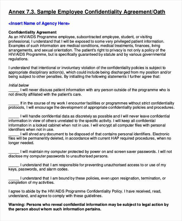 Employment Confidentiality Agreement Template Elegant 9 Employee Confidentiality Agreements – Free Sample