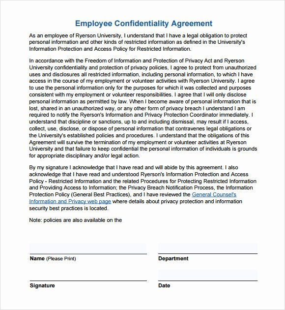 Employment Confidentiality Agreement Template Elegant Confidentiality Agreement Template 7 Download Free
