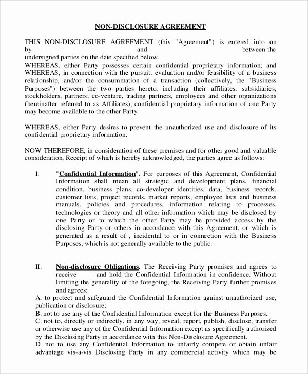Employment Confidentiality Agreement Template Elegant Non Disclosure Agreement Template – 9 Free Word Pdf