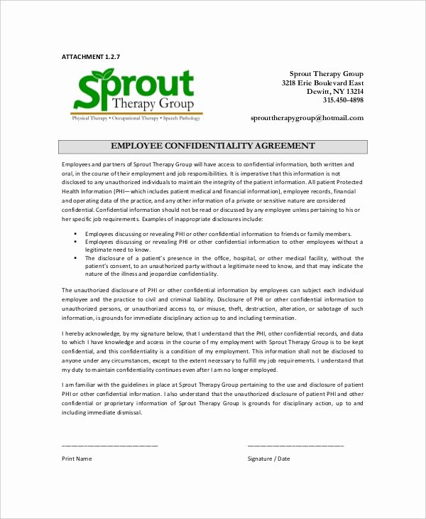 Employment Confidentiality Agreement Template Fresh 15 Employee Confidentiality Agreement Templates – Free