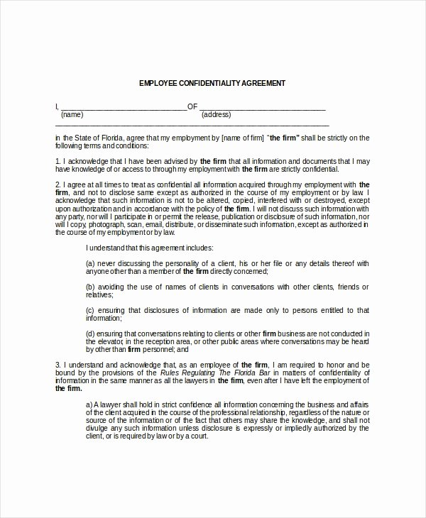 Employment Confidentiality Agreement Template Fresh 9 Employee Confidentiality Agreement Templates & Samples