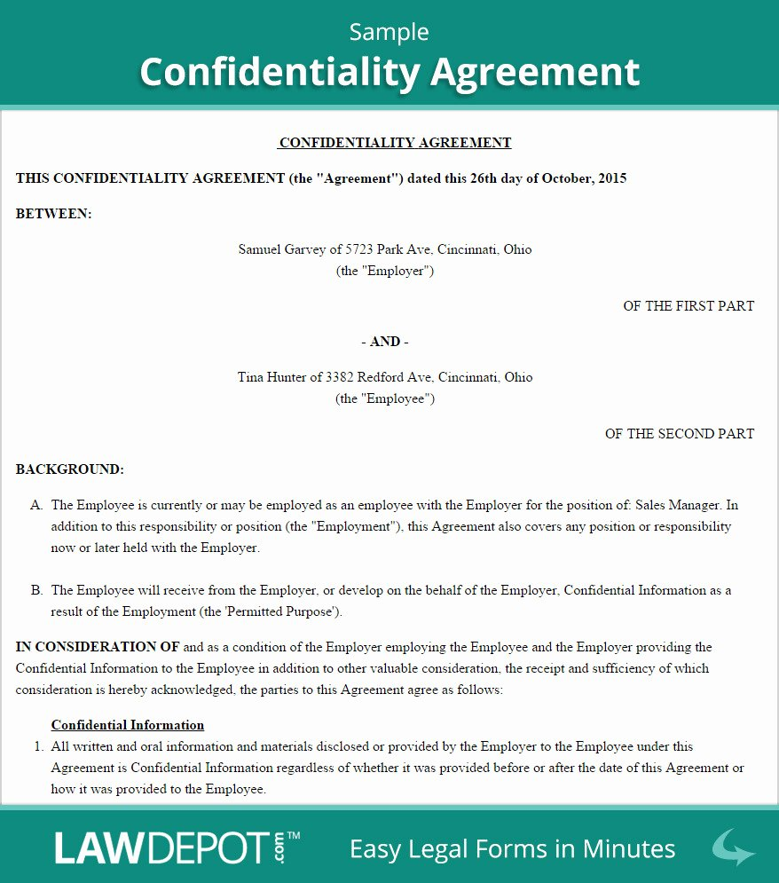 Employment Confidentiality Agreement Template Fresh Employee Confidentiality Agreement Template Australia