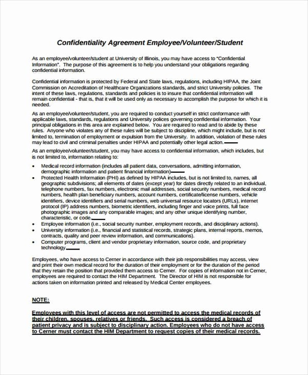 Employment Confidentiality Agreement Template Lovely Contract forms In Pdf