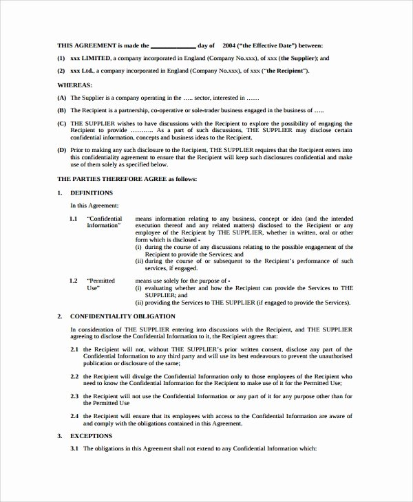Employment Confidentiality Agreement Template Luxury 10 Sample Employment Confidentiality Agreements Word Pdf