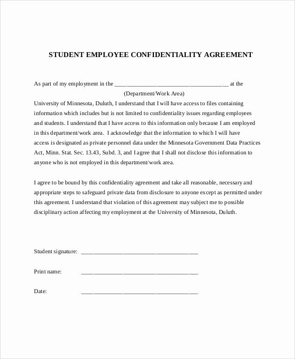 Employment Confidentiality Agreement Template Luxury 11 Sample Confidentiality Agreement forms