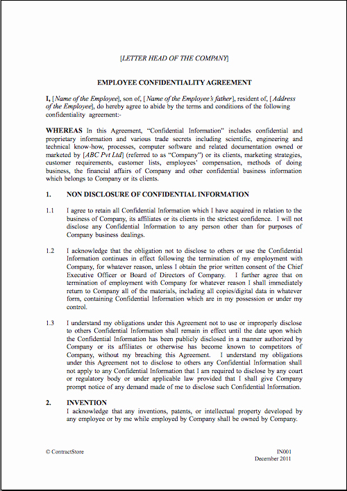 Employment Confidentiality Agreement Template Luxury Employee Non Disclosure Agreement