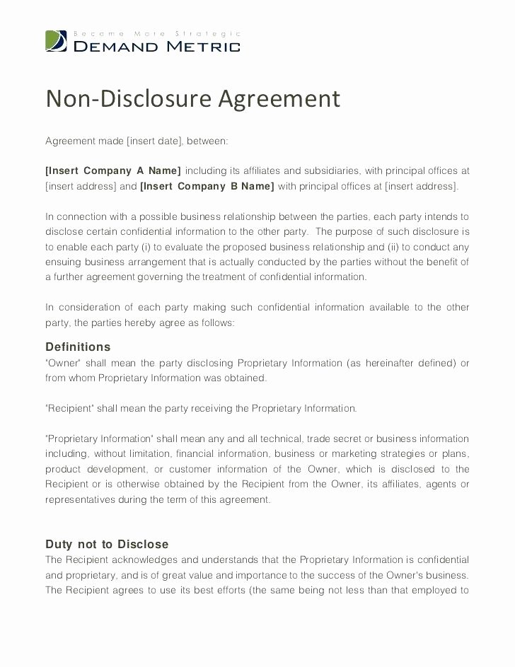 Employment Confidentiality Agreement Template Luxury Non Disclosure Agreement Templates Samples forms Template