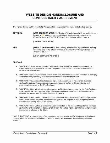 Employment Confidentiality Agreement Template Unique 6 Non Disclosure Agreement Templates Excel Pdf formats