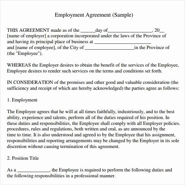 Employment Contract Template Word Beautiful top 5 Free Employment Agreement Templates Word Templates