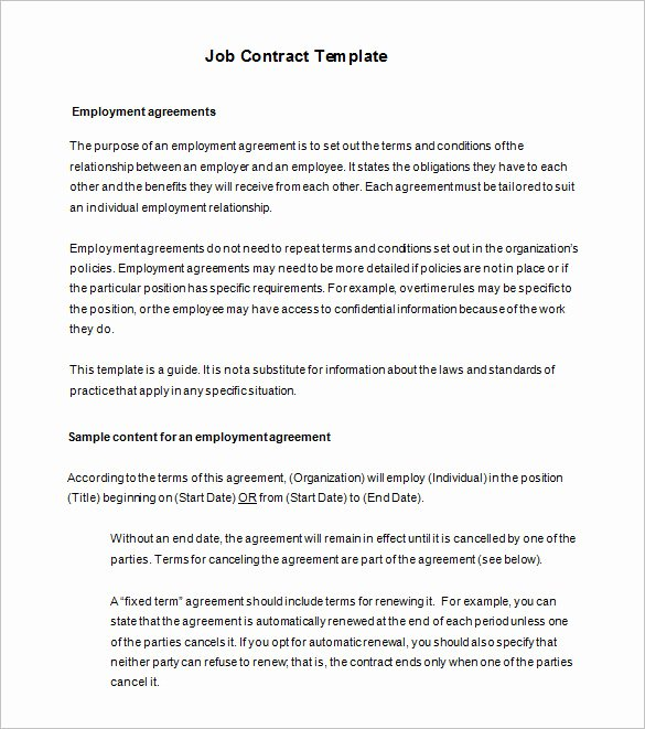 Employment Contract Template Word Best Of 18 Job Contract Templates Word Pages Docs