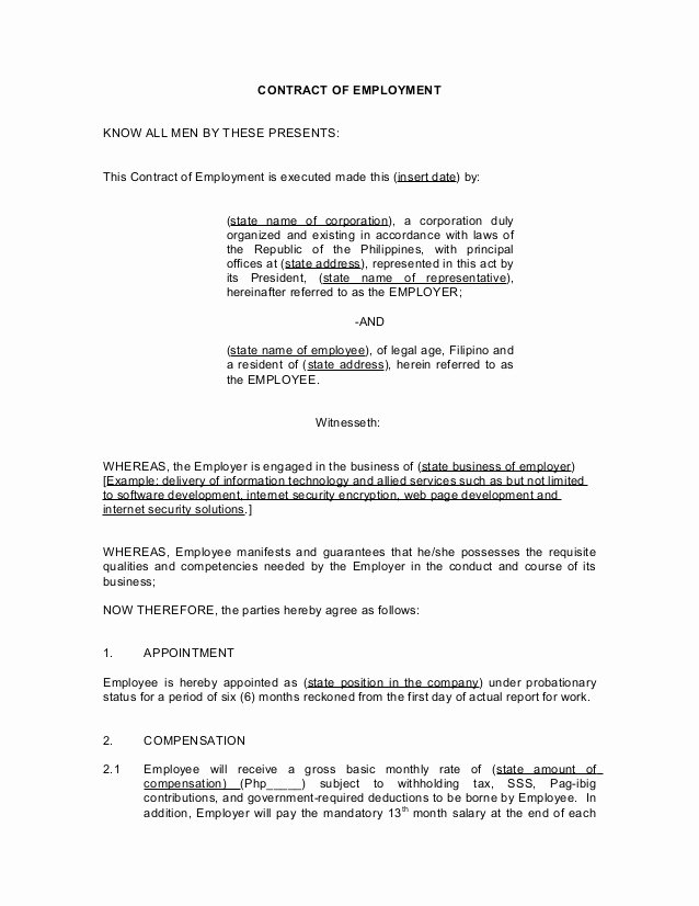 Employment Contract Template Word Inspirational Employment Contract Template Word Philippines Templates