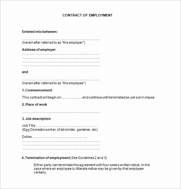 Employment Contract Template Word Lovely Employee Contract Template
