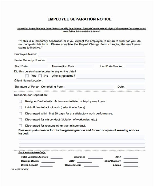 Employment Separation Agreement Template Beautiful Employment form Templates