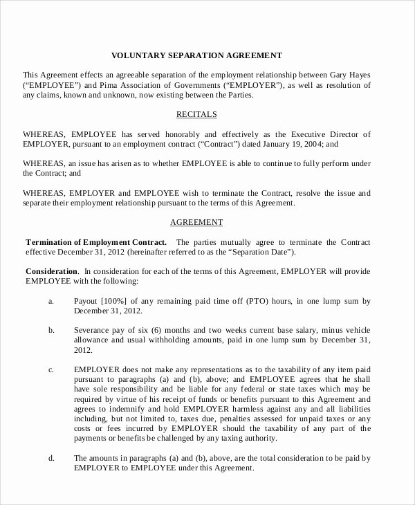 Employment Separation Agreement Template Beautiful Sample Employment Separation Agreement 8 Documents In