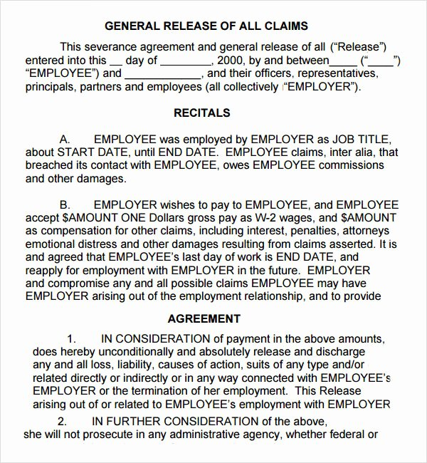 Employment Separation Agreement Template Elegant Severance Agreement 6 Free Pdf Doc Download