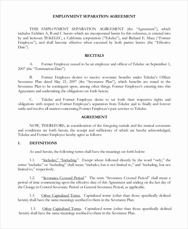 Employment Separation Agreement Template Fresh Standard Employment Agreement Sample 18 Examples In Pdf