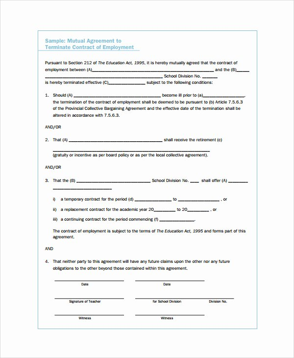 Employment Separation Agreement Template Lovely Employment Separation Agreement Templa