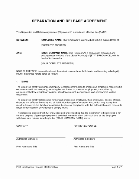 Employment Separation Agreement Template Lovely Separation and Release Agreement Template Ghostclothingco