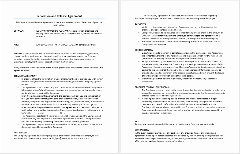 Employment Separation Agreement Template Lovely Separation and Release Agreement Template – Microsoft Word