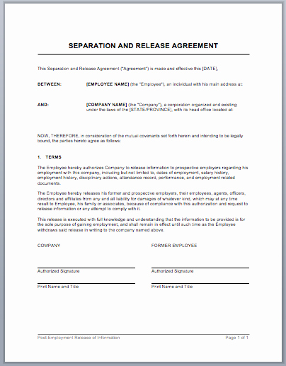 Employment Separation Agreement Template Lovely Separation and Release Agreement Template Word Templates