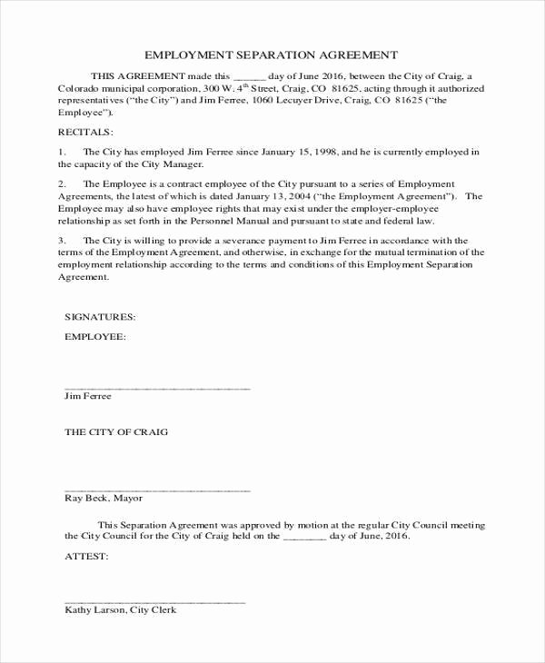 Employment Separation Agreement Template Luxury Employment Separation Agreement