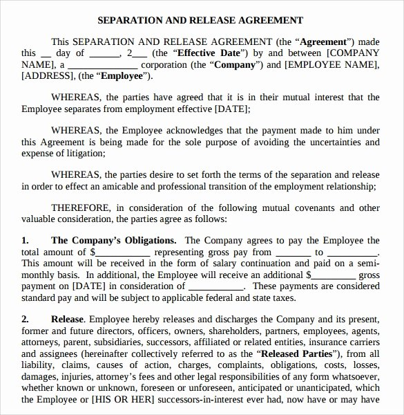 Employment Separation Agreement Template Luxury Separation Agreement Template 8 Download Free Documents