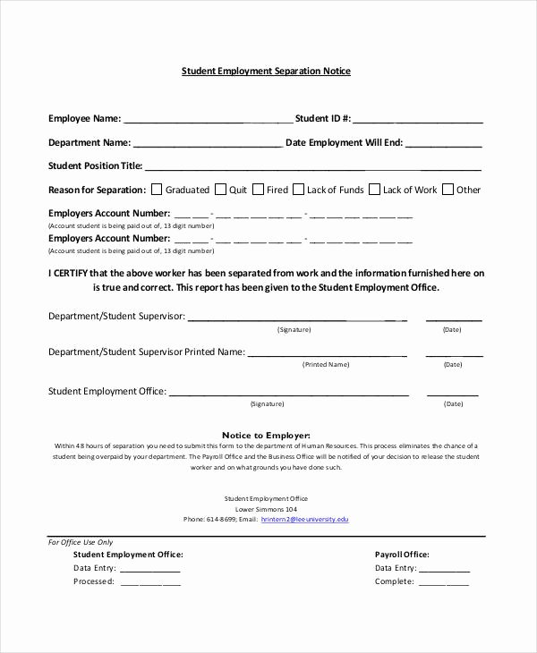 Employment Separation form Template Beautiful 14 Separation Notice Templates Google Docs Ms Word