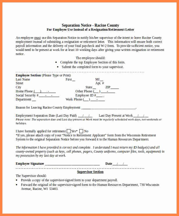 Employment Separation form Template Best Of 3 Separation Notice Template