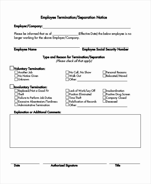 Employment Separation form Template Elegant 14 Separation Notice Templates Google Docs Ms Word