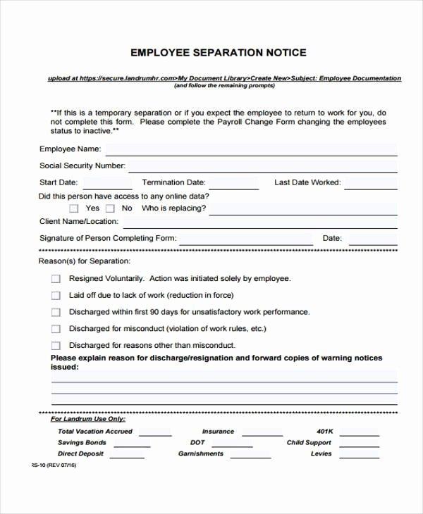 Employment Separation form Template Elegant Employment form Templates