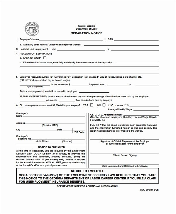 Employment Separation form Template Fresh 9 Separation Notice Templates