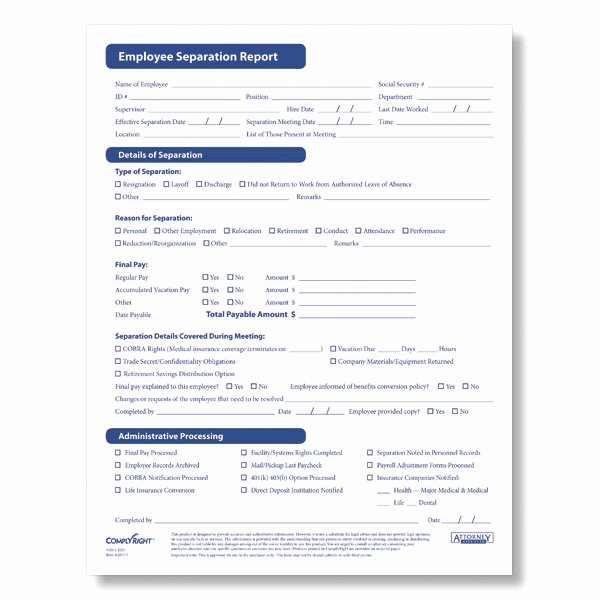 Employment Separation form Template Lovely Hr & Personnel forms