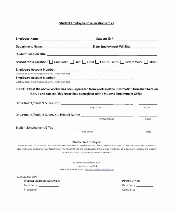 Employment Separation form Template New Separation Notice Template Sample Employee Termination