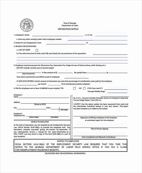 Employment Separation form Template Unique 9 Separation Notice Templates